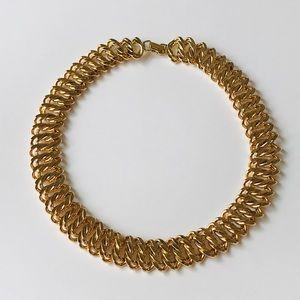 VTG Napier Chunky Wide Gold tone Choker Necklace